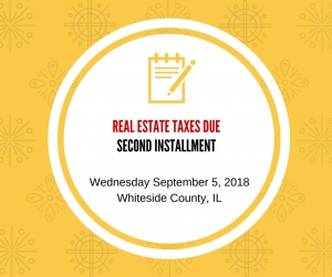 Second Installment of Real Estate Taxes Due September 5th
